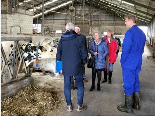 Op bezoek bij melkveehouder Arie Vaandrager, met v.l.n.r. Daan Dankaart PvdA, Dick Bosgieter VVD, Cilia Meerman CDA, Mieke Bakker D66 en gastheer/boer Arie Vaandrager. Bianca Verschoor GL was de fotograaf.